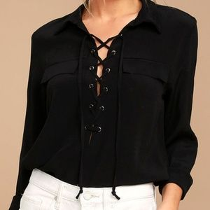Once in a Lifetime Black Lace-Up Top